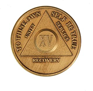 15 Year Bronze AA (Alcoholics Anonymous) - Sober / Sobriety / Birthday / Anniversary / Recovery / Medallion / Coin / Chip