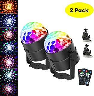 Disco Ball Light,CrazyFire Portable DJ Lights 6 Colors Sound Activated Led Party Lights with Remote Control,Led Stage Lights for Bar Club Party Holiday Wedding(2 Pack with Suction Cup)