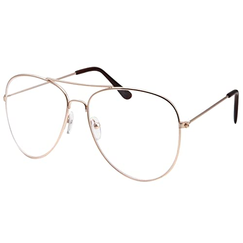 a357aae3a9d Womens XL Large Fashion Gold Aviator Clear Lens Glasses Oversized Non- Prescription