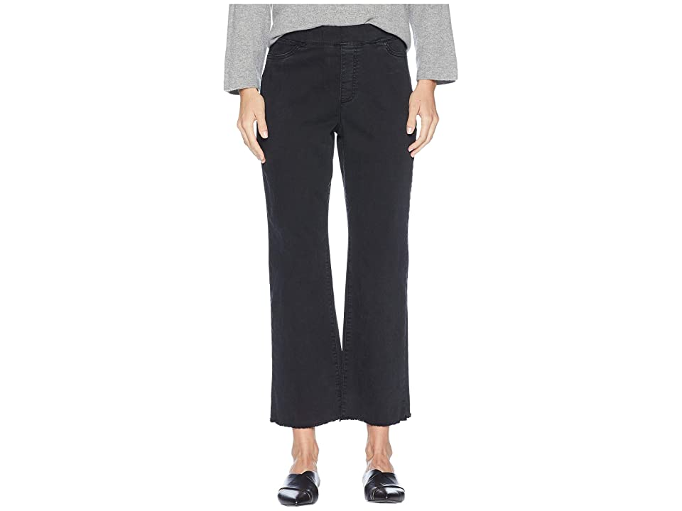 Eileen Fisher Organic Cotton Stretch Denim Ankle Pull-On Jeans w/ Raw Edge in Washed Black (Washed Black) Women