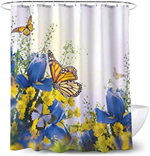 Adwaita Heavy Duty Waterproof Fabric Bathroom Shower Curtain Bath Curtain Weighted 100% Polyester, Machine Washable - 72 x 72 Inch with Yellow Butterfly Design(Yellow)