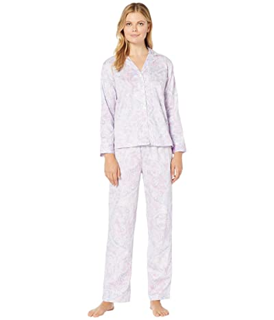 LAUREN Ralph Lauren Sateen Woven Long Sleeve Pointed Notch Collar Long Pants PJ Set (Multi Paisley) Women