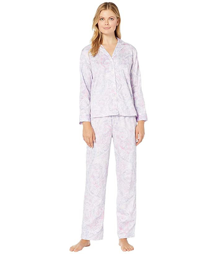 LAUREN Ralph Lauren  Sateen Woven Long Sleeve Pointed Notch Collar Long Pants PJ Set (Multi Paisley) Womens Pajama Sets