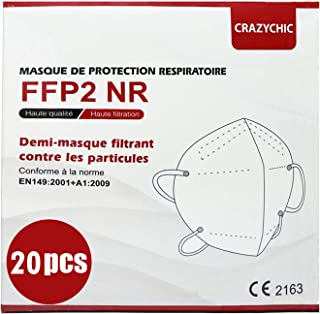 CRAZYCHIC - 20x Masque FFP2 NR Certifié Norme CE EN149 - Masque de Protection Respiratoire - Haute Filtration 5 Couches - ...