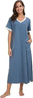 Long Nightgown Womens House Dresses Cotton Loungewear V Neck Sleepwear