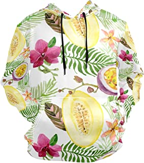 Unisex Pullover Hooded Shirts Passion Fruit Cantaloupe Leaf Flower Hooded Sweatshirt Couples Sportwear