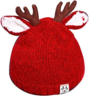 NACOLA Cute Christmas Moose Baby Beanie Soft Warm Crochet Knitted Hat for Toddler