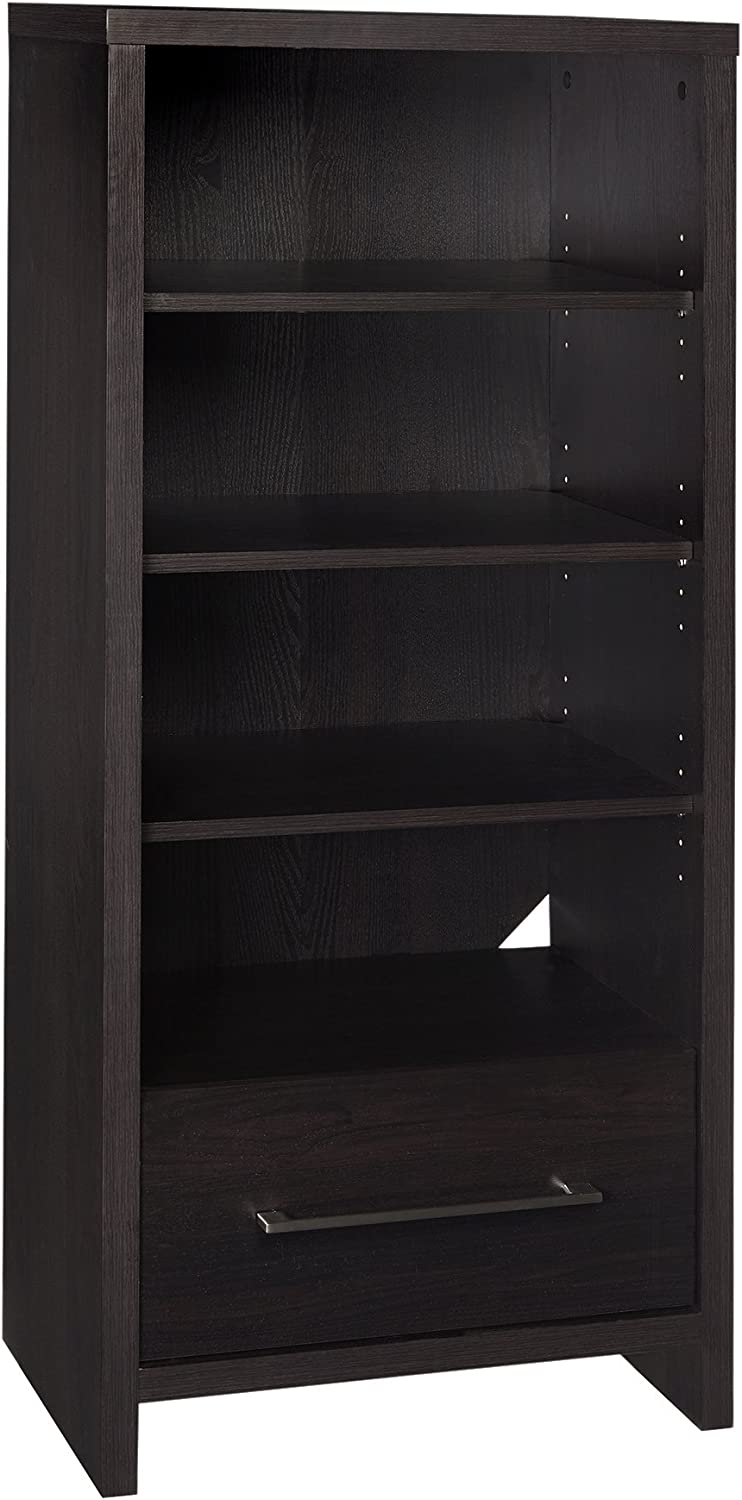 ClosetMaid 1661 Media Storage Tower Bookcase with 2 Drawers, Black Walnut