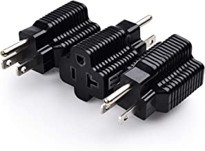 Cable Matters 3-Pack 15 Amp to 20 Amp Adapter Plug, 20 Amp to 15 Amp Plug Adapter (NEMA 5-15 to 5-20R) in Black