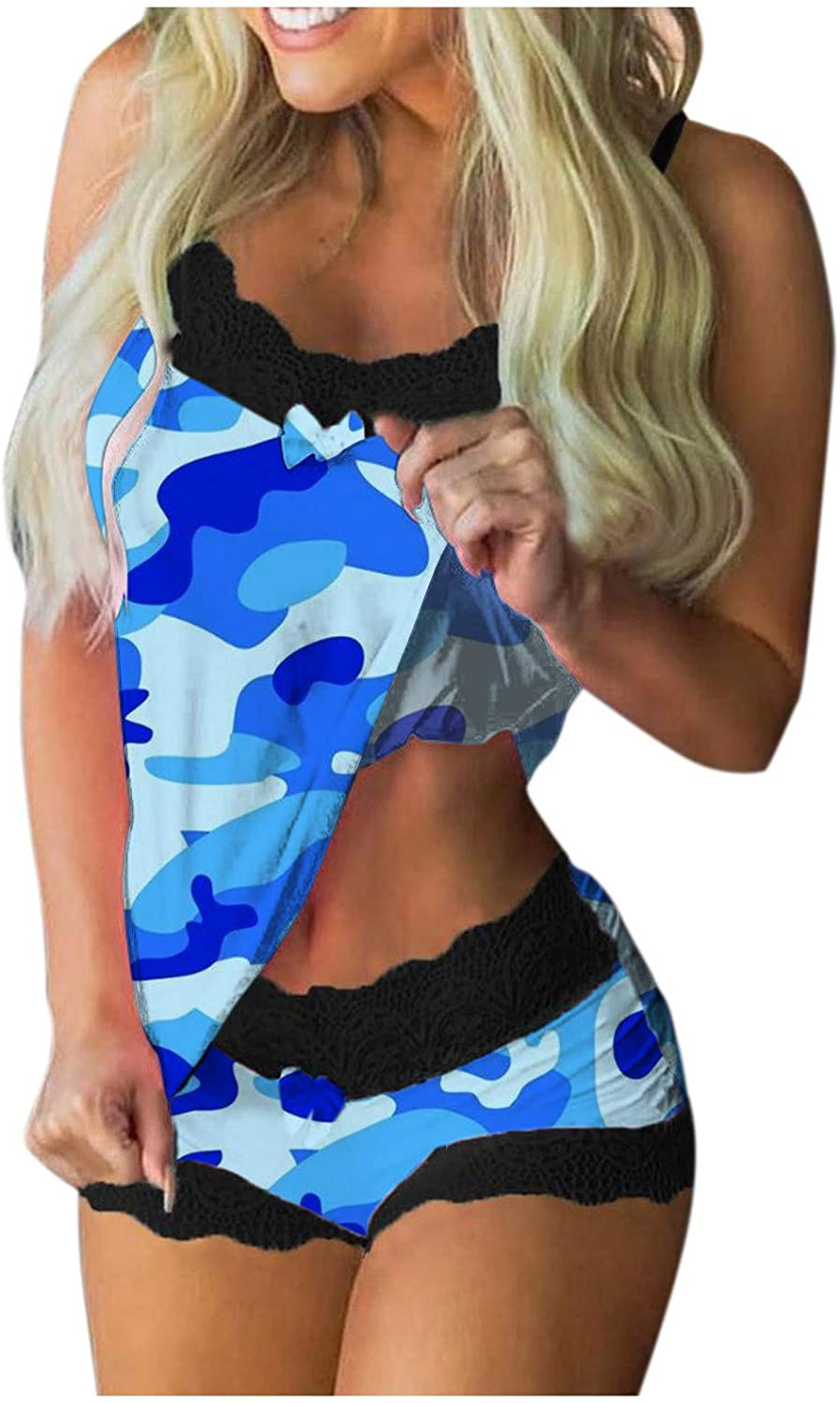 Lingerie Set for Women, Women's Printed Two Piece Outfit Short Sleeve Crewneck Pullover Tops and Pants Camouflage