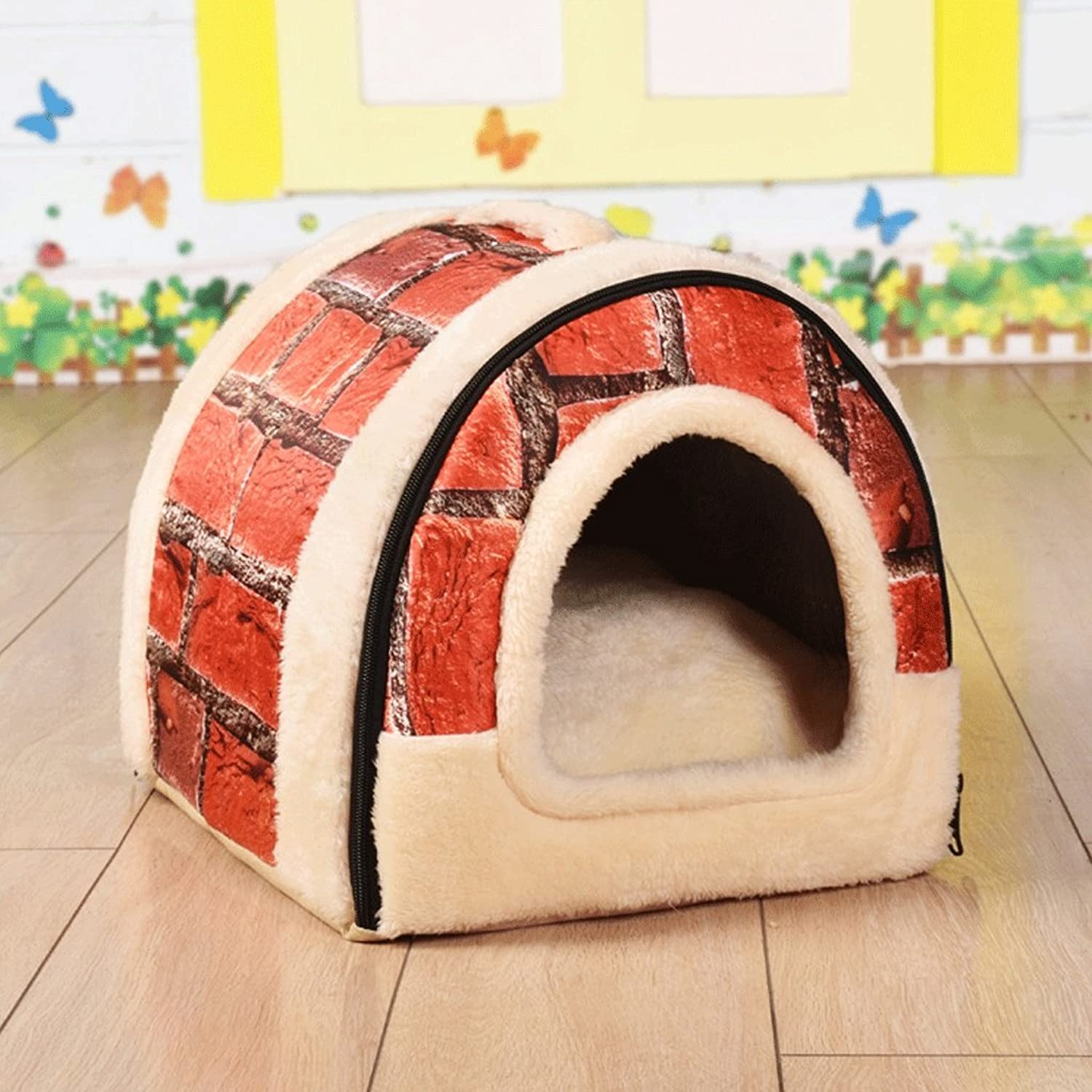 LM921 Arcshaped pet nest, washable folding kennel, winter General small warm pet bed, indoor pet cat puppy bed warm sofa household mat, 3 sizes (color   Red, Size   L)