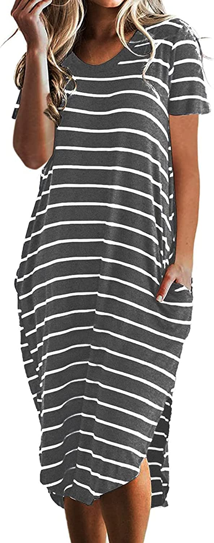 PRIMODA Women's Casual Oversized Short Sleeveless Striped T Shirt Dress Side Slit Midi Dress with Pockets