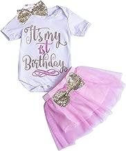 Newborn Baby Girls First Birthday Romper Bodysuits + Tutu Skirt Dress Outfit Set with Headband