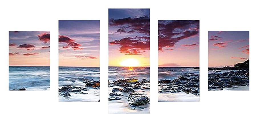 SuperDecor DIY 5D Diamond Painting Kits Full Drill Diamond Embroidery Sunset Over The Sea by Number Kits for Adults and Kids Home Walls Decor