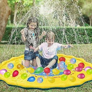 WTOR 噴水マット 111個水風船付き 子供 プール 噴水池 水爆弾ボール 水遊び プレイマット ウォーター アウトドア 夏の日 子供用 おもちゃ 芝生遊び 170CM