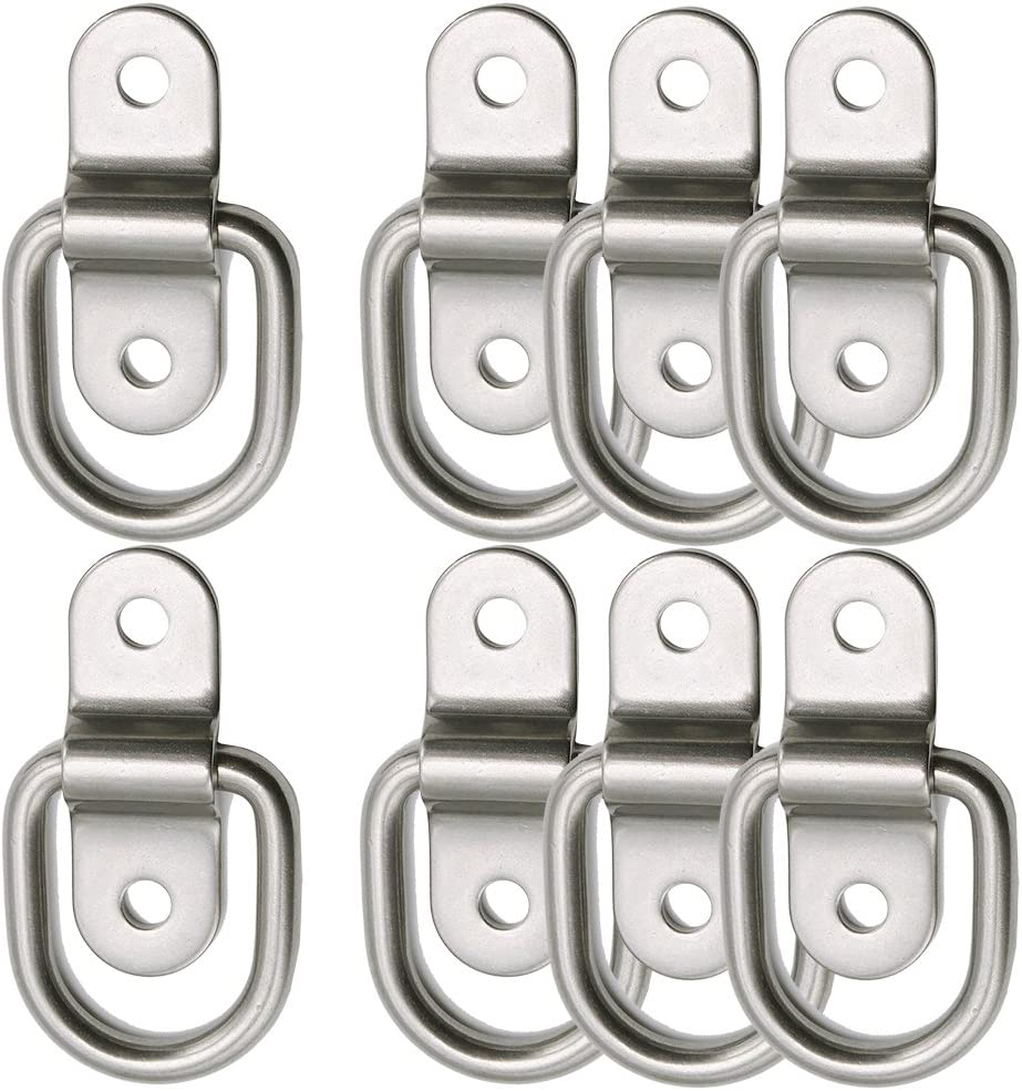 D-Ring Tie Down Anchor 8X 1/4'' Stainless Steel D-Rings Trailer D Ring Tie Downs 700lbs D-Ring Bracket, D Ring Mounting Plate Tie Down Points for Ratchet Tie Down Straps Car Truck Bed Cargo
