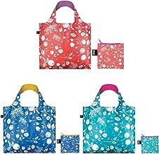 حقائب تسوق قابلة لإعادة الاستخدام من لوكي، مجموعة من 3 قطع، جرس مرجاني اللون، زهرة الذرة، أزرق مخضر