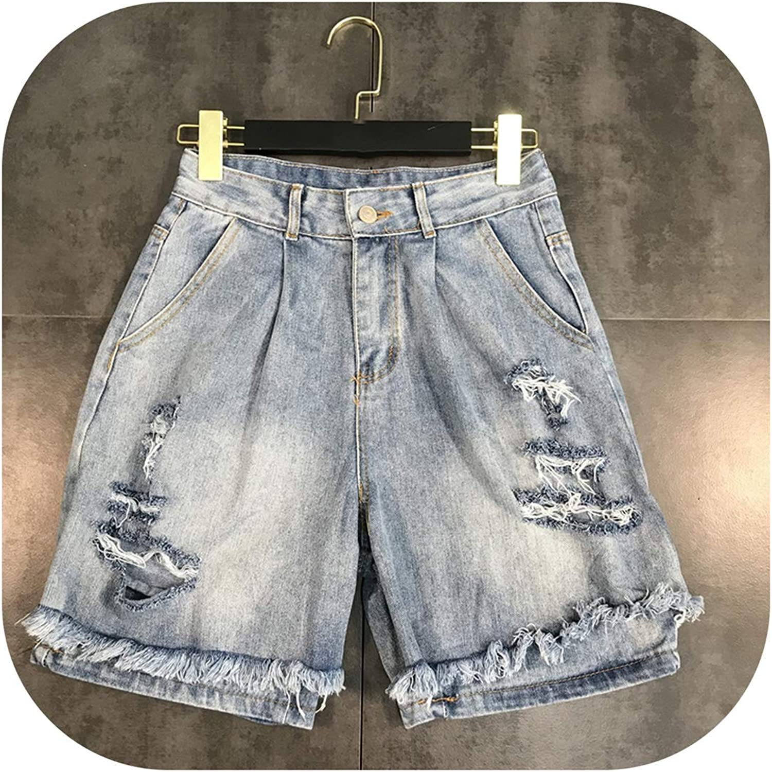 Fake Two Piece Women Distressed Denim Shorts High Waist Hole Light bluee Fashion,