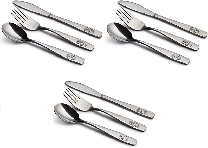 9 Piece Stainless Steel Kids Cutlery Child And Toddler Safe Flatware Kids Silverware Kids Utensil Set Includes 3 Knives 3 Forks 3 Spoons Total Of 3 Place Settings Ideal For Home And Preschools