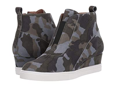 LINEA Paolo Anna Wedge Sneaker (Dark Green/Light Grey Suede) Women
