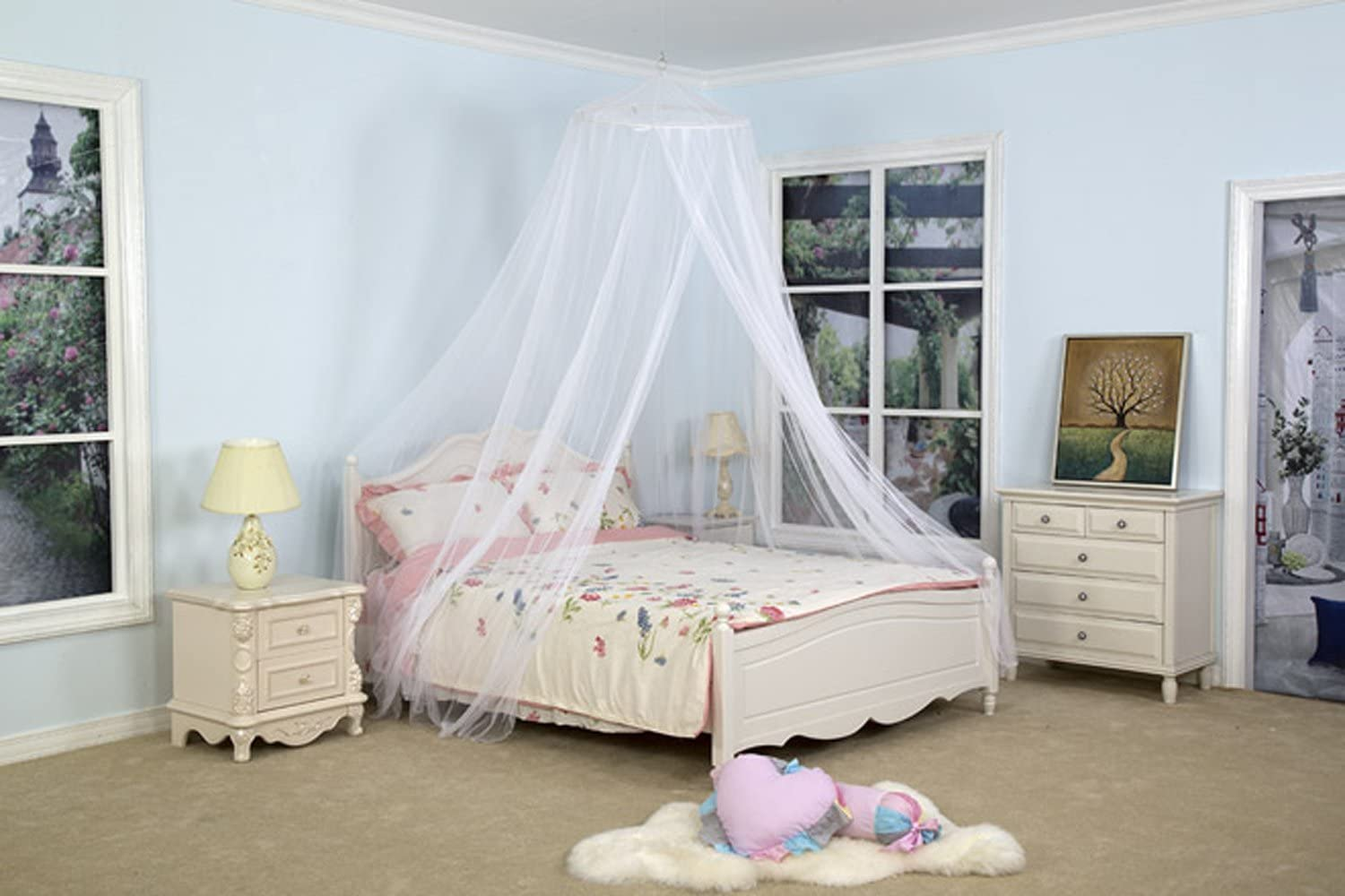 DreamMa White Round Bed Canopy Mosquito Net