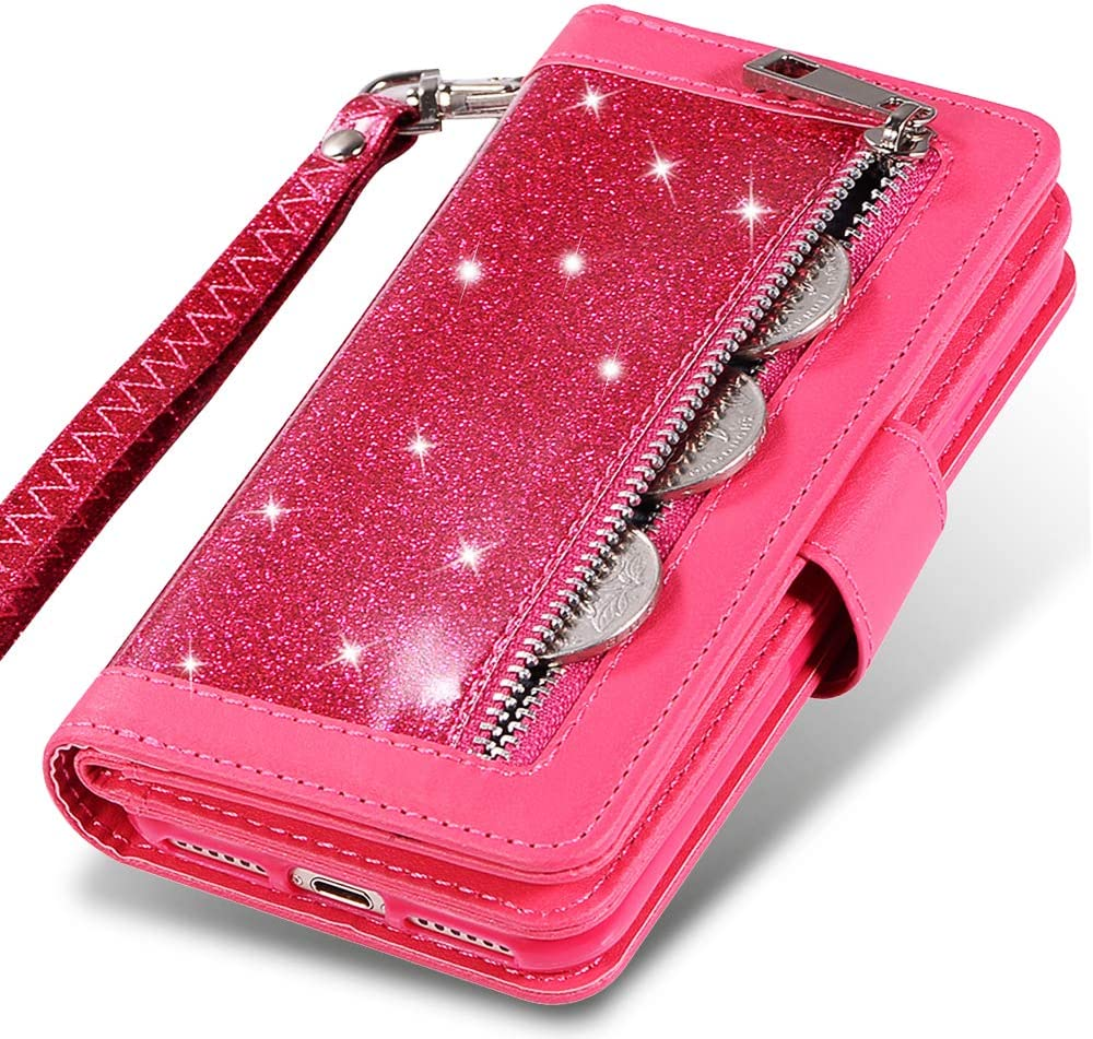 """iPhone XR Wallet Case for Women,Kudex Bling Glitter Flip Leather Shock Absorption Magnetic Kickstand Wallet Purse Case with 9 Cards Holder&Zipper Money Pocket&Strap Case for iPhone XR 6.1"""" (HotPink)"""