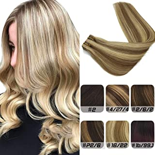 Labeh 14inches Tape in Hair Extensions Pu Remy Real Human Hair Extensions Ash Blonde Hightlighted Seamless Skin Weft Ombre Blonde Tape in Extensions 20pcs 50g (14inch, Ombre Highlight Blonde #16/22)