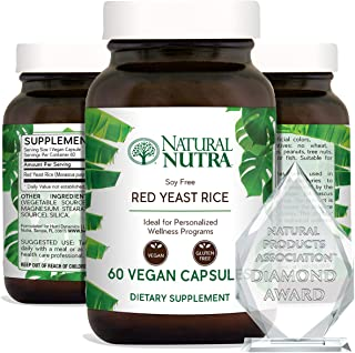 Natural Nutra Red Yeast Rice Extract with Monacolin K, Supplement for Cholesterol and Cardiovascular Support, Stress Relie...