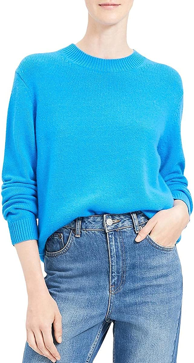 Theory Womens Cashmere Ribbed Trim Sweater