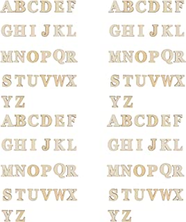 CM 104 PCS Wooden Alphabet Letters Unfinished Wood Sticker for DIY Craft, 26 Letters from A to Z, 4 Sets