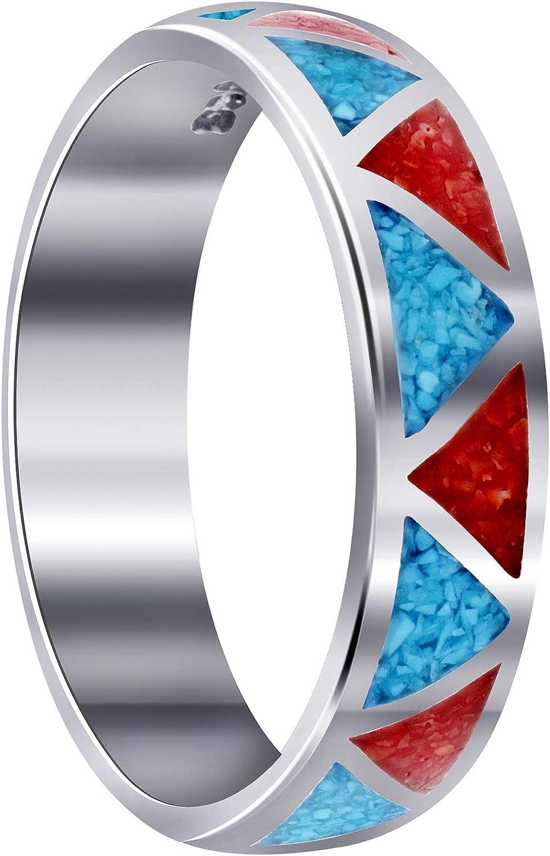 Southwestern Style Turquoise and Coral Wedding shipfree Ste Band Luxury Gemstone