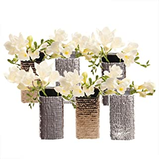 Chive - Set of 6, 2 Inch Wide 4.25 Inch Tall, Small Square Ceramic Bud Flower Vase