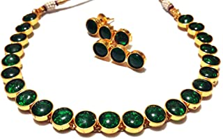 Green Kemp Antique Gold Plated Crystal Indian Fashion Jewelry Necklace and Earring Set