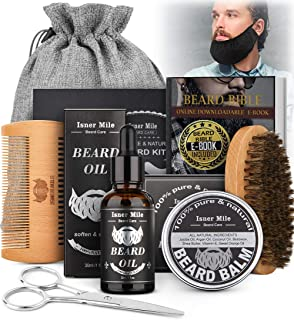 Beard Growth Kit,Beard Kit with Beard Guard,Beard Growth Oil,Care Balm,Boar Bristle Brush,Wooden Comb, Mustache Scissors,S...