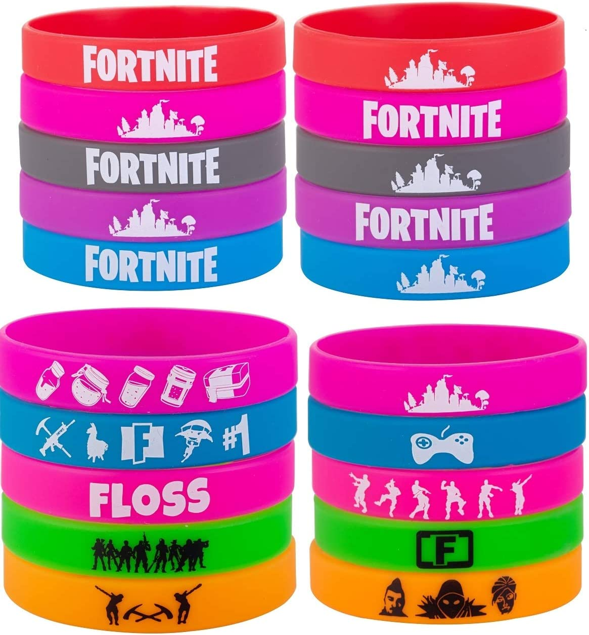 12. Fortnite Themed 30Pcs Silicone Bracelets for Kids