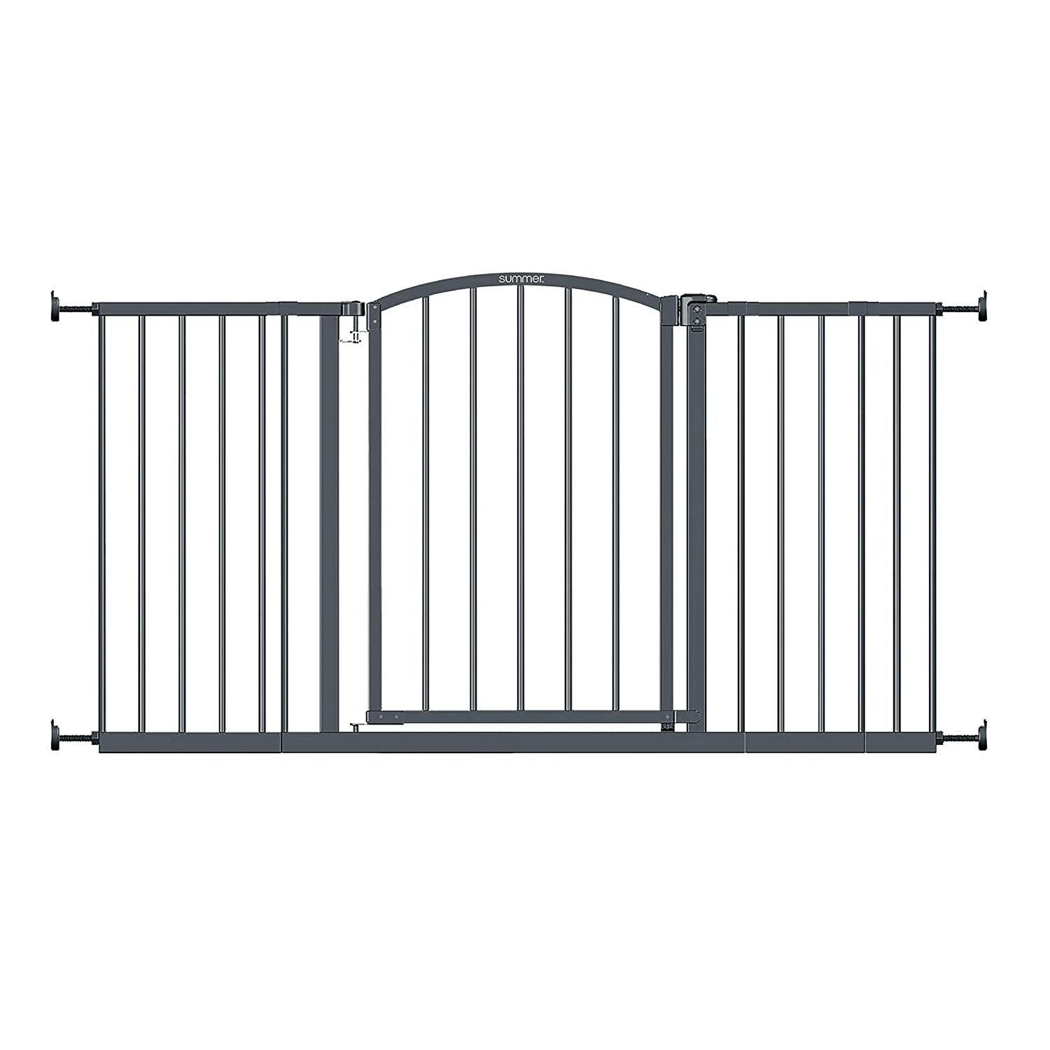 """Summer Extra Wide Decor Safety Baby Gate, Gray – 27"""" Tall, Fits Openings of 28"""" to 51.5"""" Wide, 20"""" Wide Door Opening, Baby and Pet Gate for Extra Wide Doorways"""