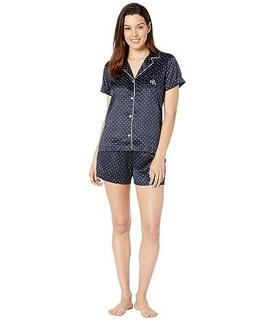 LAUREN Ralph Lauren Short Sleeve Roll Cuff Notch Collar Boxer Pajama Set (Navy Dot) Women