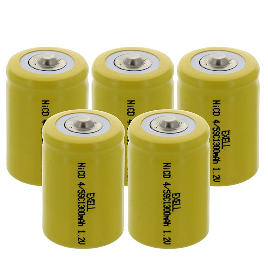 5x Exell 4/5 SubC 1.2V 1300mAh NiCD Button Top Rechargeable Batteries for medical instruments/equipment, electric razors, toothbrushes, radio controlled devices, electric tools