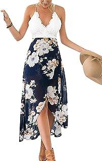 فستان طويل للنساء من Famulily برقبة على شكل حرف V من الدانتيل المرقع غير منتظم بحاشية على شكل حرف V