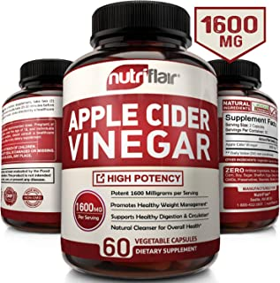 Apple Cider Vinegar Pills 1600MG - Powerful ACV Capsules for Natural Weight Loss, Detox, Digestion - Supports Healthy Blood Sugar & Immune System