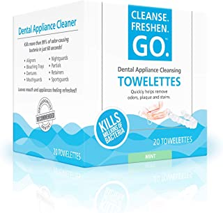 Cleanse.Freshen.Go.TM Anti-Bacterial Dental Appliance Cleansing Towelettes (20 Ct) (3 Pack) - Exciting Mint