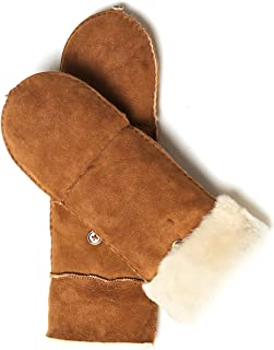 Women's Merino Sheepskin Leather Gloves Flip Fingerless Mitten Half Finger Sherpa Fur Cuff Thick Wool Lined and Heated Warm for Winter Cold Weather Dress Driving Work Xmas Gifts, Camel L