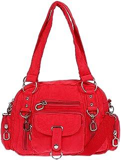 Damenhandtasche Schultertasche Tasche Umhängetasche Canvas Shopper Crossover Bag Rot