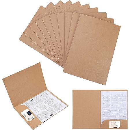 Lot de 10 Chemise Cartonnée avec Rabat A4 Sous-Chemises en Papier Kraft Dossier de Fichiers à Insertion Porte Document Organisateur Stockage Chemises de Presentation Contrat Rapports