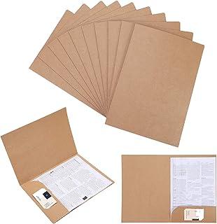 Lot de 10 Chemise Cartonnée avec Rabat A4 Sous-Chemises en Papier Kraft Dossier de Fichiers à Insertion Porte Document Org...