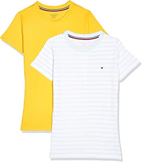 Tommy Hilfiger Girl's 2P Tee S/S Print T-shirt, Color:Luminous Blue/Primary Yellow, Size:10-12