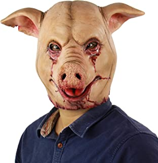 Scary Animal Latex Mask Halloween Costume Cosplay Props Bloody Pig Head Butcher Horror Adult Head Mask Red