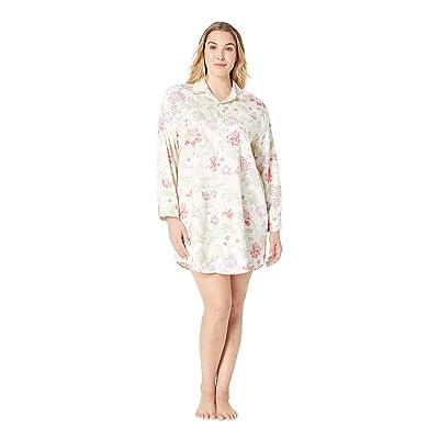 LAUREN Ralph Lauren Plus Size Sateen Long Sleeve His Shirt Sleepshirt (Ivory Floral Print) Women