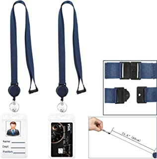 Retractable Badge Holder with Lanyard Retractable Breakaway Safety Lanyard with id Badge Holders Vertical Retractable id Badge with Clip Reel for id Badges Card Punched Zipper Waterproof Pack of 2