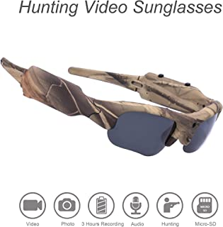 Video Sunglasses, 16GB Outdoor Sports Action Camera for Hunting with 3 Hours Video Recording Time and Polarized UV400 Protection Safety and Interchangeable Lens